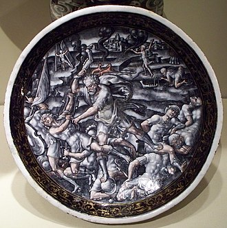 Pierre Courteys - Standing Dish with Samson Crushing the Philistines with the Jawbone of an Ass, ca. 1580. Now at the Taft Museum of Art.
