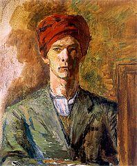Self-portrait in red turban.