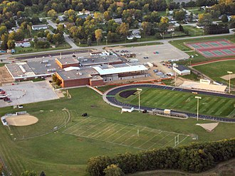 Walkerton, Indiana - John Glenn High School from the air, looking north