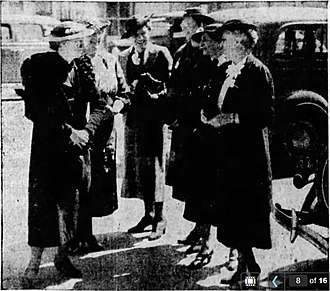 Wanda Brown Shaw - Officers of A.A.U.W. upon arrival in Klamath Falls, Oregon, were met and welcomed by Wanda Brown Shaw. From left to right: Mrs. G.A. Johnson, Mabel Morton, Wanda Brown Shaw, Helen Moor, Mrs. Herbert Howell, Dr. K.W. Jameson, state president and dean of women at Oregon State College