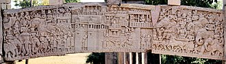 War elephant - Mallas defending the city of Kusinagara with war elephants, as depicted at Sanchi.