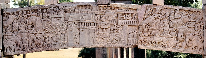 File:War over the Buddha's Relics, South Gate, Stupa no. 1, Sanchi.jpg