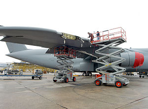 Warner Robins Air Logistics Complex - Missile-damaged C-5 Galaxy receives repair of battle damage at Warner Robins.