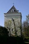 """Toren in een historiserende stijl bij de voormalige boerderij """"Vreeburg"""""""
