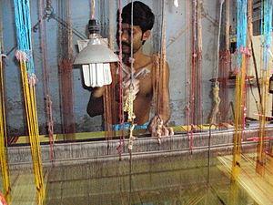 Tant sari - Tant saree in making, near Bishnupur, Bankura.