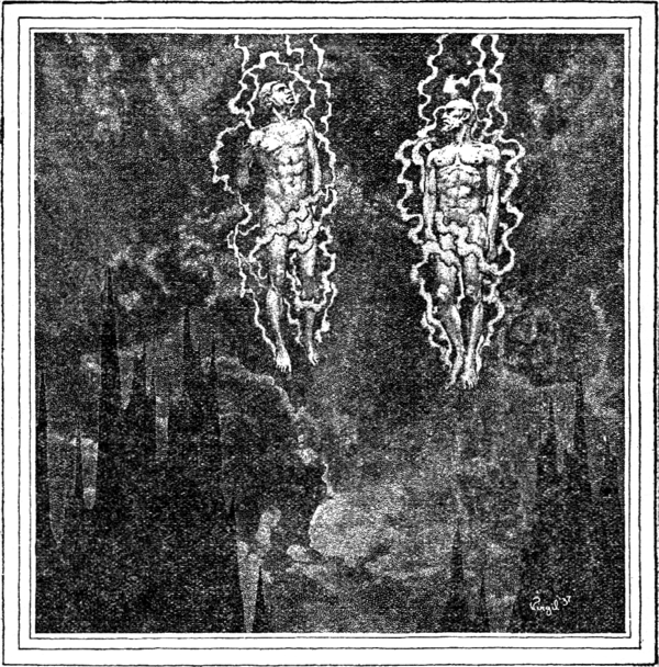 Black and white illustration of two naked men, floating in the clouds above jagged peaks, each wrapped in an aura of lighting-like energy streams.