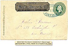 Wells Fargo Co Franked Cover From Austin Nevada Territory To San Francisco Cal July 6 1870