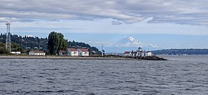 West Point Light - West Point Lighthouse with Mount Ranier behind, from the Argosy Locks Cruise boat, August 2016.