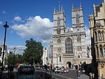 Westminster Abbey sight of the red bus.JPG