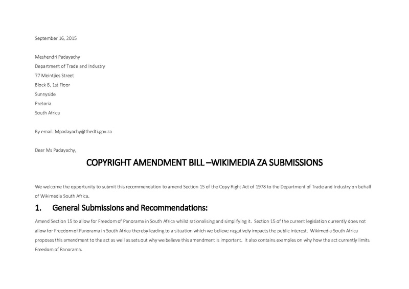 File:Wikimedia Copyright Submissions to amend the South African Copy Right Act of 1978 - 16 September 2015.pdf