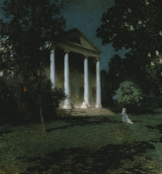 Florence Griswold Museum - May Night, painting of the Florence Griswold House by Willard Metcalf, 1906, in the collection of the  Corcoran Gallery of Art.