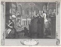 William Hogarth - Industry and Idleness, Plate 2; The Industrious 'Prentice performing the Duty of a Christian.png