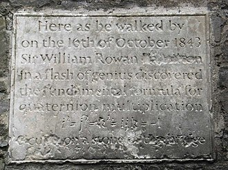 William Rowan Hamilton - Quaternion Plaque on Broom Bridge