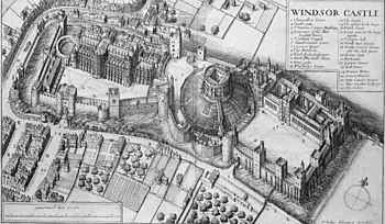 A detailed engraving of a castle, seen from the air. The castle is divided in three pieces, with a domed mound in the middle, upon which is a keep, the castle and walls look stubby and short from this angle.