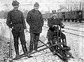 Winter, men, uniform, rails, train station, railroader, railway handcar Fortepan 22690.jpg