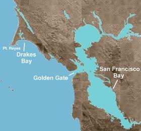 Situación del estrecho Golden Gate, a la entrada de la bahía de San Francisco