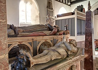 Henry Wriothesley, 2nd Earl of Southampton - Tomb effigy at Titchfield of Henry Wriothesley, 2nd Earl of Southampton, with that of his mother above