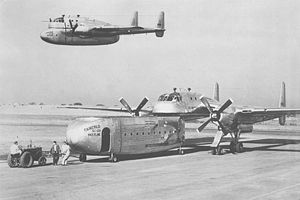 Fairchild XC-120 Packplane - Composite image of the sole XC-120 on the ground, and in flight.