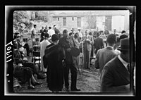 Y.M.C.A. Hostel in J'lem. (i.e., Jerusalem) for the men of H.M. Forces. Garden tea after opening LOC matpc.20572.jpg