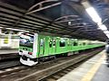 Yamanote Line train. green wrapping 50th anniversary special..jpg