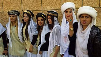 Ethnoreligious group - Yazidi girls in traditional dress