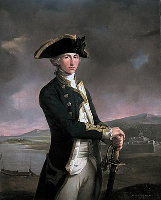 Horatio Nelson, 1st Viscount Nelson - Captain Horatio Nelson, painted by John Francis Rigaud in 1781, with Fort San Juan - the scene of his most notable achievement up to that point — in the background. The painting itself was begun and nearly finished prior to the battle, when Nelson held the rank of lieutenant; when Nelson returned, the artist added the new captain's gold-braided sleeves.