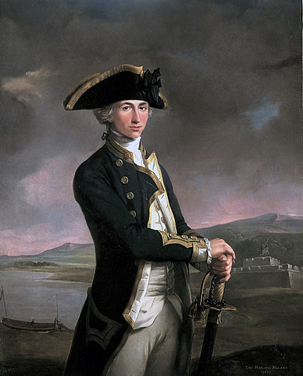 Captain Horatio Nelson, painted by John Francis Rigaud in 1781, with Fort San Juan - the scene of his most notable achievement up to that point -- in the background. The painting itself was begun and nearly finished prior to the battle, when Nelson held the rank of lieutenant; when Nelson returned, the artist added the new captain's gold-braided sleeves. Young Nelson.jpg