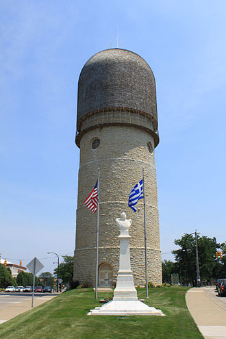 Demetrios Ypsilantis - A bust of Demetrius Ypsilantis in front of the Ypsilanti Water Tower in Ypsilanti Michigan, United States.