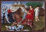 Yvain secourant la damoiselle. Enluminure tirée d une version de   Lancelot du Lac   du XVème siècle. Le chevalier doit avoir un comportement loyal, le combat est l occasion de justifier son statut social.