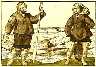 Inuit - An anonymous 1578 illustration believed to show Kalicho (left), and Arnaq and Nutaaq (right)