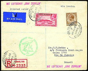 Philately - Zeppelin mail from Gibraltar to Rio de Janeiro, Brazil via Berlin on the Christmas flight (12th South American flight) of 1934. This cover would be of interest to Postal Historians, Aerophilatelists and Thematic collectors.