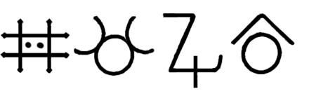 Various alchemical symbols for the element zinc Zinc-alchemy symbols.png