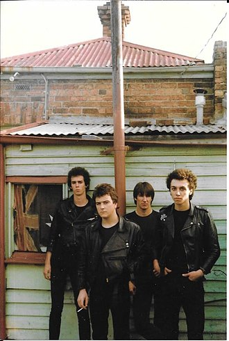 The Zorros - Left to right: Nic Chancellor, Craig Russell, Greg Pedley, Darren Smith in Brunswick, January 1981