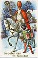 """""""Groeten van St. Nicolaas!"""" St. Nicholas and a helper, St. Nick is in a white robe, orange cap,... (NBY 1458).jpg"""