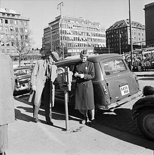 """Parking enforcement officer - """"Meter maid"""" in Stockholm, 1961"""