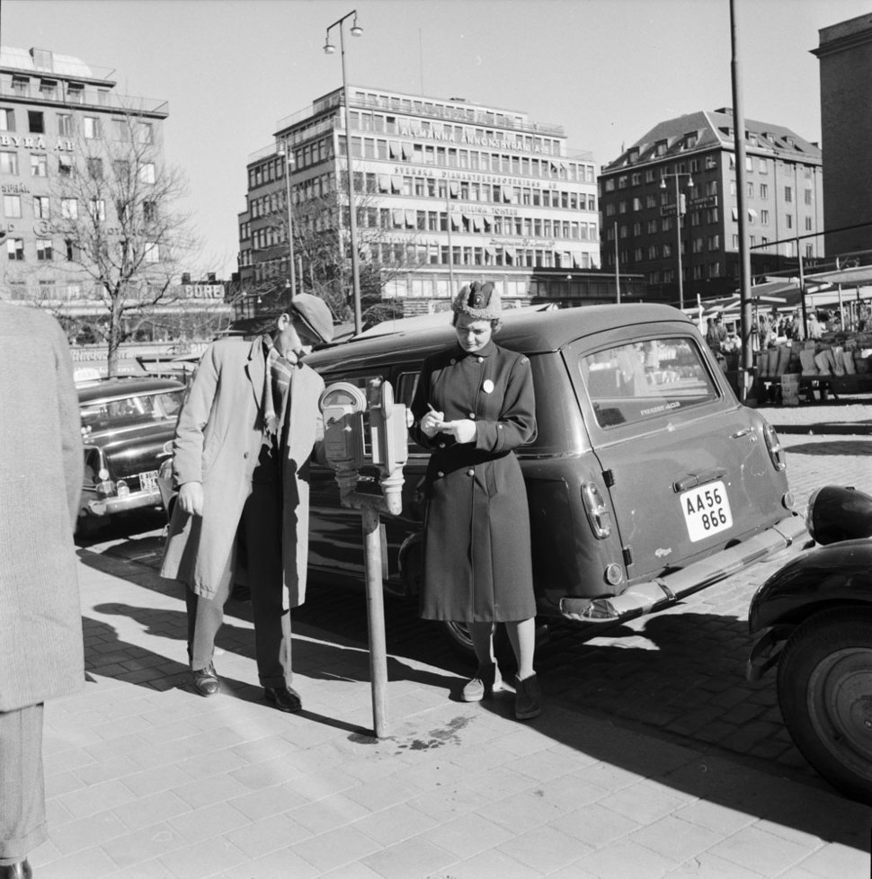 """Meter maid"" in Stockholm in 1961"