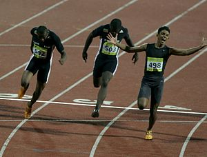 Shehan Ambepitiya - Ambeypitiya winning the gold medal in 100m at Commonwealth Youth Games, Pune, 2008
