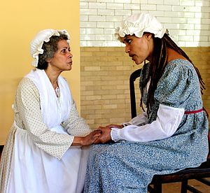 Jay Heritage Center - Striving for Freedom is an interactive play that examines the lives of two sisters, Mary and Clarinda, who were slaves owned and emancipated by members of the Jay family.