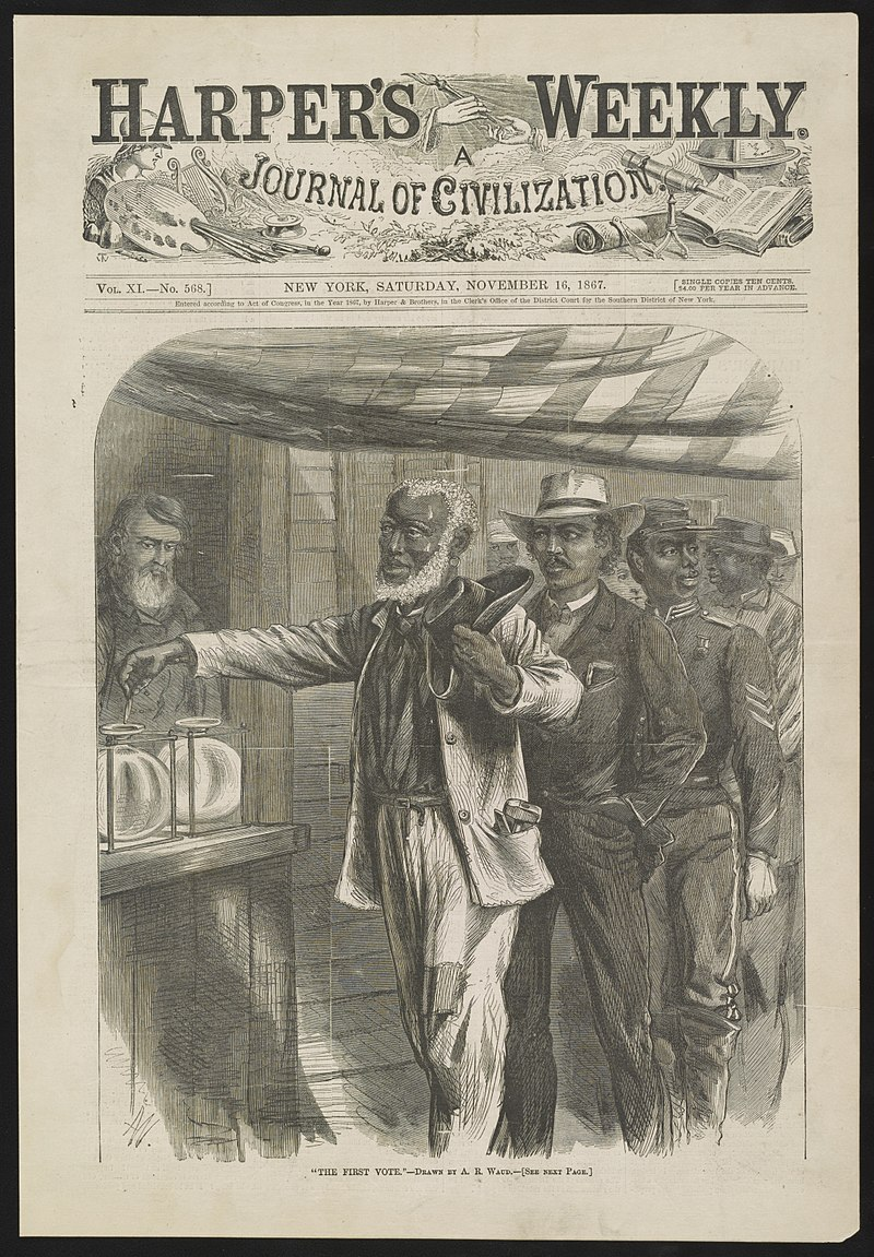 """First Vote,"" engraving by A.R. Waud, 1866.  After the Civil War, the abolitionist press shared the hopes of ex slaves in the full promise of emancipation. (Wikimedia Commons)"