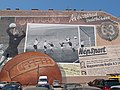 'The football match of the century' (for the Hungarians). A big wall painting at a Parking. - Budapest District VII., Rumbach Sebestyen Street 6-10.JPG