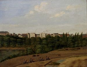 Nansensgade - Ørsted Park under establishment with Nansensgade well under way in the background, 1876