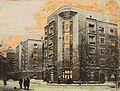 Жилой комплекс по ул. 25 Октября, 15-17 (Ныне ул. Институтская, 15-17) в Киеве, 1935-1937гг (архитектор Иосиф Каракис) фото раскрашено автором.jpg
