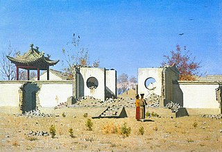 Ruins of Chinese sanctuary. Ak-Kent
