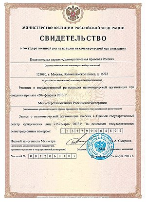 Political parties in Russia - Certificate of state registration of political parties in Russia, issued by the Ministry of Justice of Russia