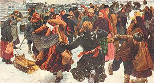 Slavic carnival - Fedot Sychkov. Plyaska (Russian folk dance). 1911