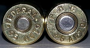 Centerfire ammunition - The same cartridge (.45 ACP shown here) can have different primer sizes depending on manufacturer.