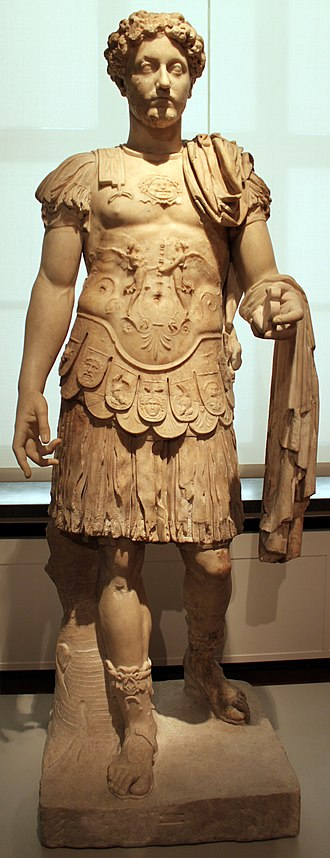 Early life of Marcus Aurelius - Marble statue of a young Marcus Aurelius in military garb, wearing the muscle cuirass, Altes Museum, Berlin