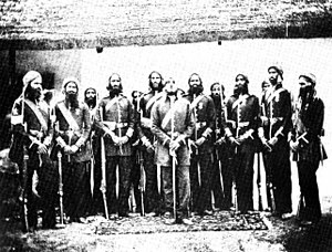 Sikhs in the British Indian Army - Image: 03 Men of the Loodiaah (Ludhiana) Sikh Regiment in China, Circa 1860