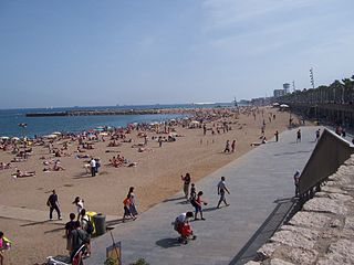beach and historical neighborhood in Barcelona, Spain