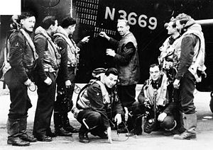 No. 15 Squadron RAF - The crew of Stirling N3669 'LS-H' at RAF Bourn, chalking up the 62nd of their 67 missions, a record for a Stirling, in 1942-3